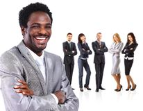 Business man standing together with colleagues Royalty Free Stock Images