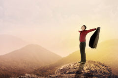Business man standing on the top of mountain Stock Photo