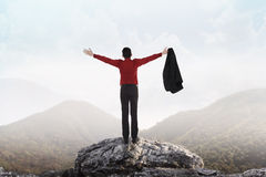 Business man standing on the top of mountain Stock Photography