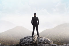 Business man standing on the top of the mountain looking at the stock images