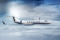 Business man standing on the top of private jet. In the middle of the storm Stock Photos