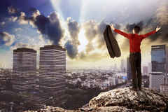 Business man standing on the top of the rock Stock Image