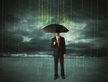 Business man standing with umbrella data protection concept Stock Images
