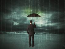 Business man standing with umbrella data protection concept Royalty Free Stock Photos