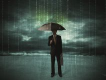 Business man standing with umbrella data protection concept Stock Photos