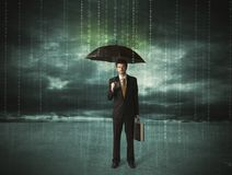 Business man standing with umbrella data protection concept Royalty Free Stock Photography