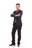 Business man standing on white studio background Royalty Free Stock Images