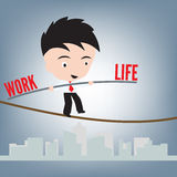 Business Man standing work life balance on wire or rope, management concept, illustration vector in flat design Royalty Free Stock Image