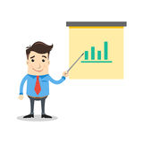 Business man with statistic. On the board Stock Photography