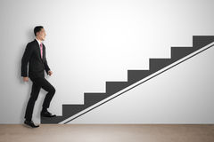 Business Man Step Up Imaginary Stairs Stock Photos