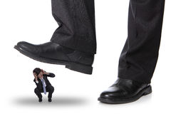 Business man steping on a fear man. Business concept , isolated on white background, asian model Stock Photos