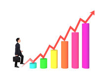 Business man stepping forward on growing 3d bar graph with arrow. Business man stepping forward on a growing 3d bar graph with arrow Stock Image