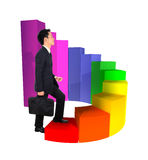 Business man stepping forward on growing 3d circular bar graph. Business man stepping forward on a growing 3d circular bar graph Royalty Free Stock Photo
