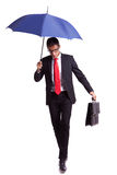 Business man stepping very carefuly forward Stock Photography
