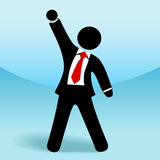 Business man stick figure arm fist up success. A business man stick figure raises his arm fist up in getsure of success Royalty Free Stock Photos