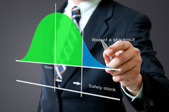 Business man with stock graph. In the office Royalty Free Stock Photo