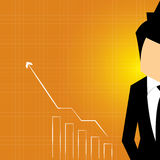 Business man stock investor, vector illustration. Successful business growth chart. Cartoon Vector Illustration Royalty Free Stock Image