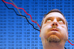 Business man with stock market disaster Stock Images