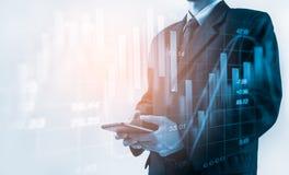 Business man on stock market financial trade indicator background. Man analysis stock market financial trade indices on LED. Double exposure of business man stock photo