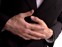 Business man stomach ache Royalty Free Stock Image