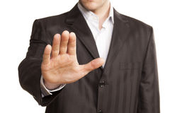 Business Man With Stop Hand Up. On White Background Royalty Free Stock Photo
