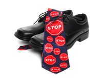 Business Man Stop Sign Theme Royalty Free Stock Photo