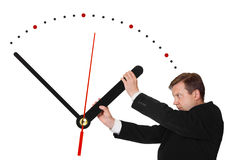 Business man stop time. Isolated on white background royalty free stock images