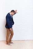 Business Man Stress Upset Hand On Wall Looking Down, Businessman Depression Pondering Stock Photography