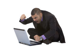Business man stressed because of computer crash. Businessman has stress because of computer problem. Isolated on white. Complete digital workflow stock photos