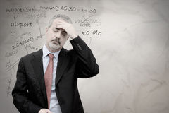 Business man stressed. Concept of mature business man stressed for too many work commitments stock image