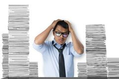 Business men are stressed. Business man are stressed because of a lot of work stock photos