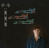 Business man, student or teacher Formula 1 racing car fan on blackboard background Stock Images