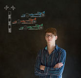 Business man, student or teacher Formula 1 racing car fan on blackboard background Royalty Free Stock Photo