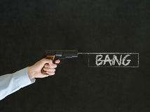Man pointing a gun with bang sign Royalty Free Stock Photo