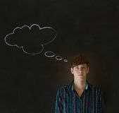 Man with thought thinking chalk cloud Royalty Free Stock Photo