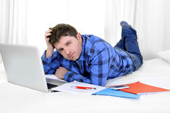 Business man or student working and studying with computer Stock Images