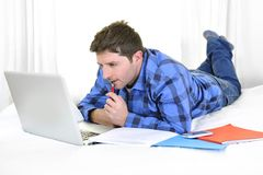 Business man or student working and studying with computer Royalty Free Stock Photography