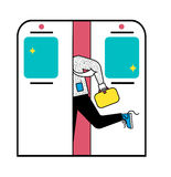 Business man in subway runnung with suitcase. good manners or bad manners. flat design for web. funny cart. Business man in subway, funny cartoon style Stock Illustration