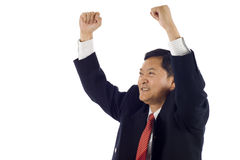 Business Man Success. Successful  senior Asian business man celebrating success Stock Images