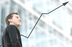 Business man success - aris graph Stock Photography