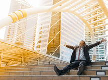 Business man with success feeling Stock Images