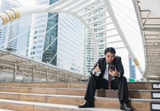 Business man with success feeling Stock Photography