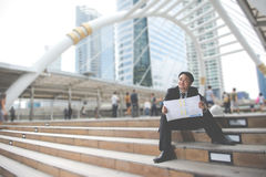 Business man with success feeling Royalty Free Stock Image