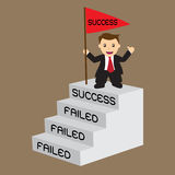 Business man with success flag on top stair, concept for challen. Ge and develop his fail until success step by step ; EPS 10  illustration Stock Photography