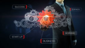 Business man success gear team work concept red. Business man build success gear team work concept design red text theme stock footage