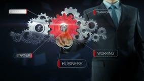 Business man success gear team work concept red. Business man build success gear team work concept design red text theme