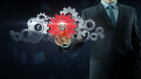 Business man success gear team work concept red stock footage