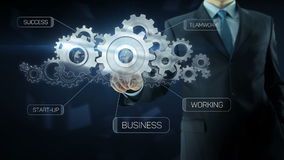 Business man success gear team work concept text. Business man build success gear team work concept design with text theme