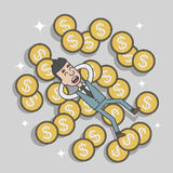 Business man success sleep on money coin Stock Photo