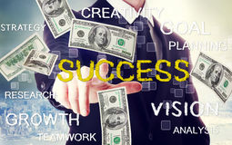 Business man with success theme with hundred dollar bills Stock Photos